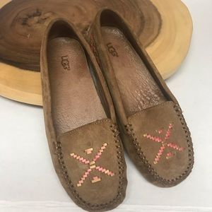 UGG Embroidered South West Leather Driving Loafer